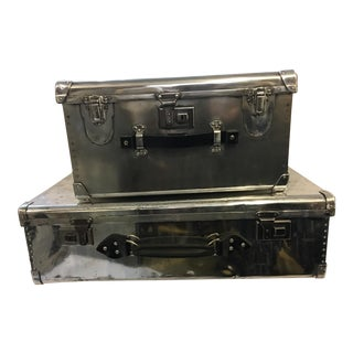 Vintage Polished Aluminum Suitcase & Hat Box - A Pair