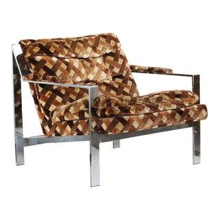 Milo Baughman Style Cy Mann Chrome Flatbar Lounge Chair