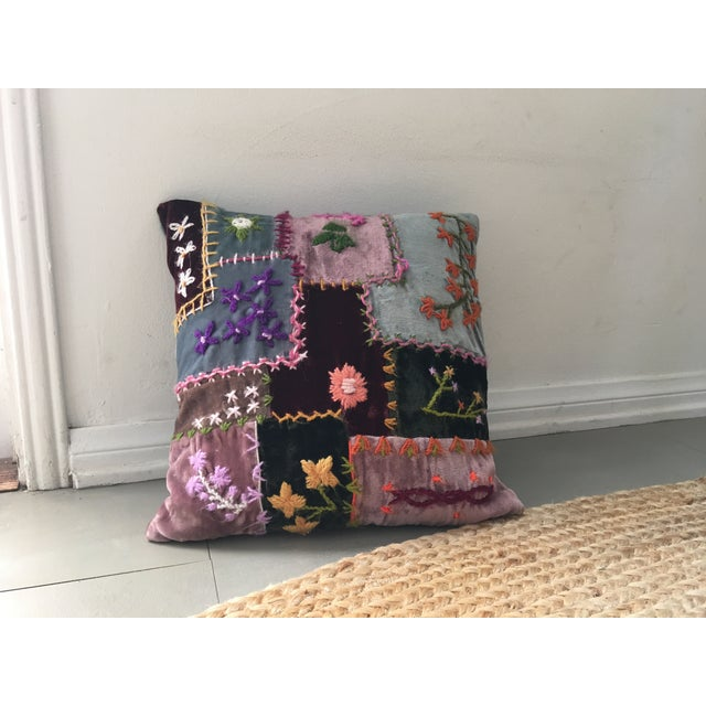 Image of Boho Patchwork Embroidered Pillow