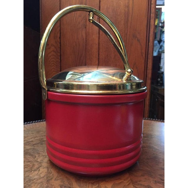 Mid Century Red & Brass Trim Bar Ice Bucket - Image 2 of 3