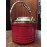 Image of Mid Century Red & Brass Trim Bar Ice Bucket