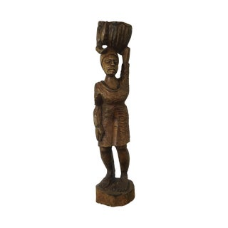 Vintage Hand Carved African Women with Basket