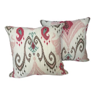 Pink & Brown Ikat Cotton Down Filled Pillows - A Pair