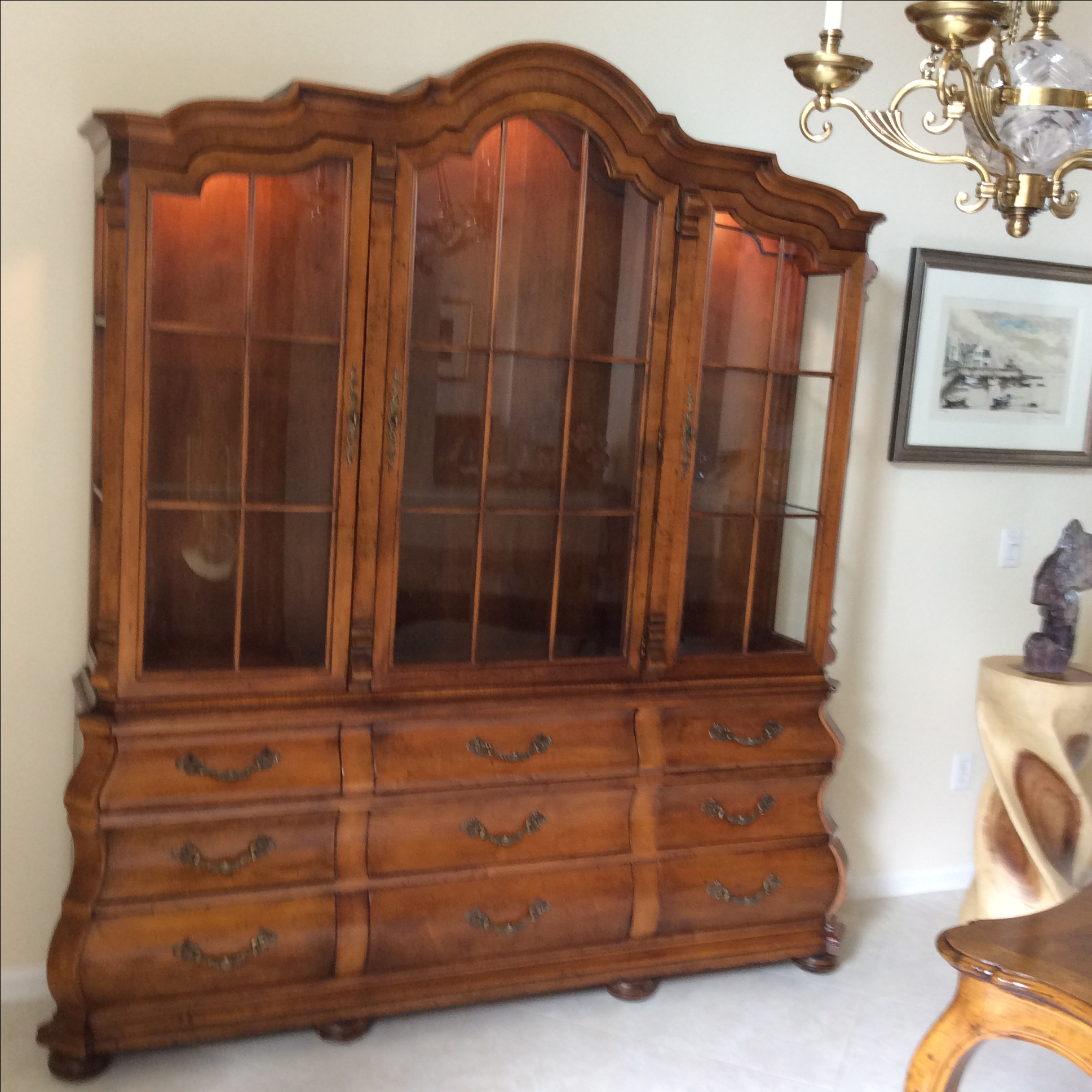 French Provincial Kitchen Cabinets: Henredon French Provincial Pecan Display Cabinet