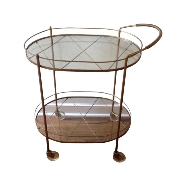Vintage Brass Bar Cart - Image 1 of 11