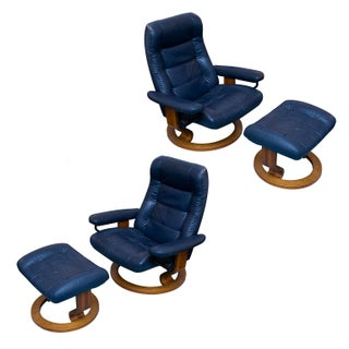 Pair of Ekornes Stressless Consul Chair & Ottoman