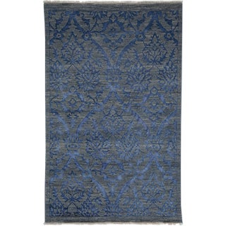Contemporary Hand Knotted Area Rug - 4' X 6'5""