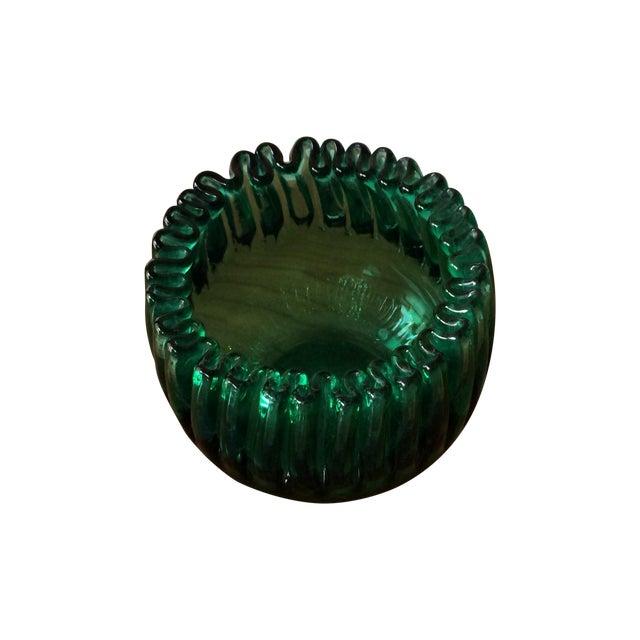 Blenko Glass Emerald Crimped Bowl - Image 1 of 5