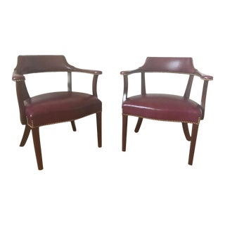Full Grain Mahogany Leather Captain's Chairs - A Pair