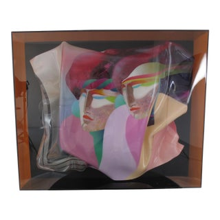 1980s Painted Acrylic Piece in Lucite Box