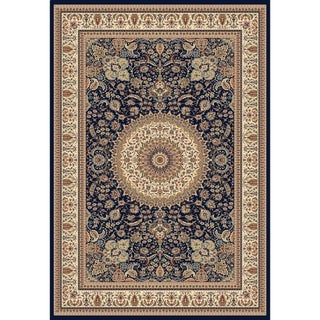 Traditional Navy Blue Medallion Rug - 9' X 12'4""