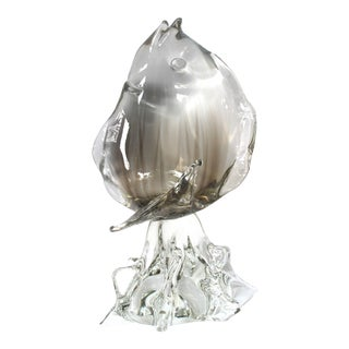 Large Scale Murano Clear Art Glass Sculpture of a Leaping Fish