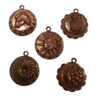 Vintage Copper Butter Candy Mold - Set of 5