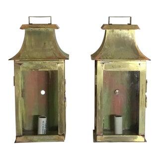 Brass Wall Hanging Lanterns - A Pair