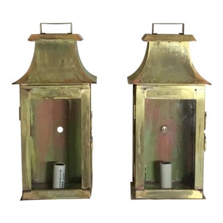 Brass Wall Hanging Lanterns - A Pair