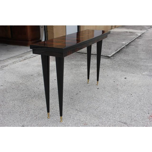 Image of French Art Deco Exotic Macassar Ebony Console Table