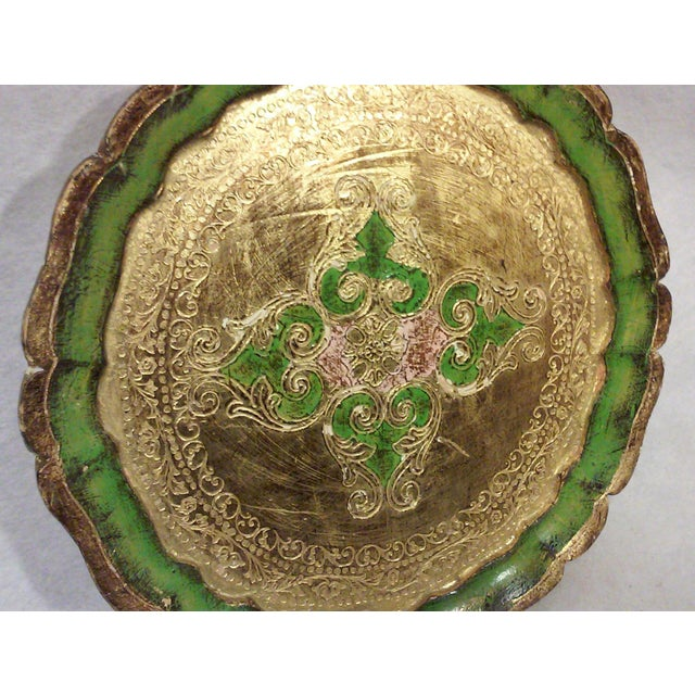 Florentine Green and Gold Leaf Decorative Tray - Image 3 of 5