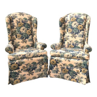 Laine Floral High Wing Back Chairs - A Pair