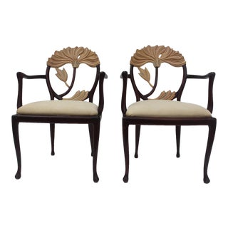 Hollywood Regency Carved Wood Floral Accent Chairs - A Pair