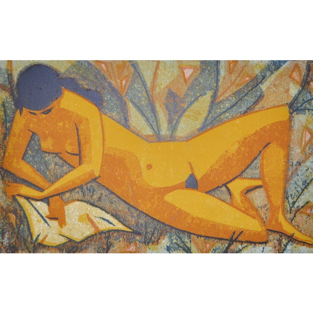 Mid-Century Nude Figure Color Lithograph Print - Image 6 of 9