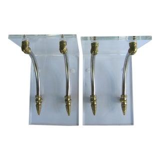 Mid-Century Lucite & Brass Wall Brackets