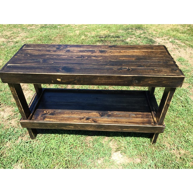 Image of Rustic Handmade Two Tier Table