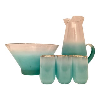 Mid-Century Blue Frosted Drinks - Set of 8