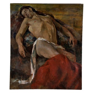 Large Vintage Draped Male Figural Study
