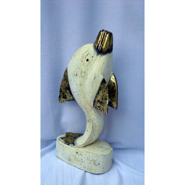 Indonesian Handcarved Gold White Dolphin Sculpture - Image 6 of 8
