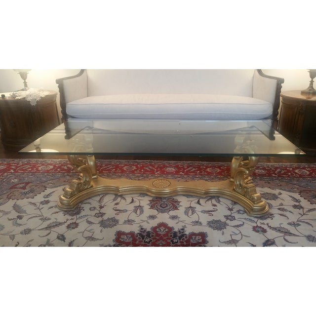 Italian Hand-Carved Base & Glass Top Coffee Table - Image 2 of 5