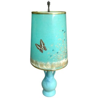 Van Briggle Turquoise Butterfly Lamp