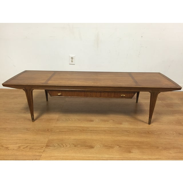 Image of Mid-Century Sculpted Walnut & Cane Coffee Table
