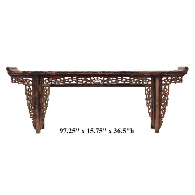 Chinese Rustic Brown Vintage Wood Side Altar Table - Image 7 of 7