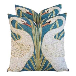 "20"" Custom Graceful Double Swans Linen & Down/Feather Pillows - Pair"