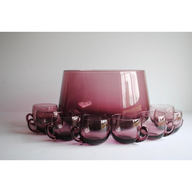 Mid-Century Punch Bowl & Glasses - Image 3 of 5