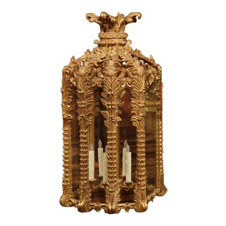 Mid-20th Century French Louis XVI Carved Six-Light Giltwood Lantern
