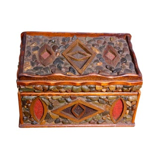 Mid-Century Folk Art Pebble-Encrusted Box