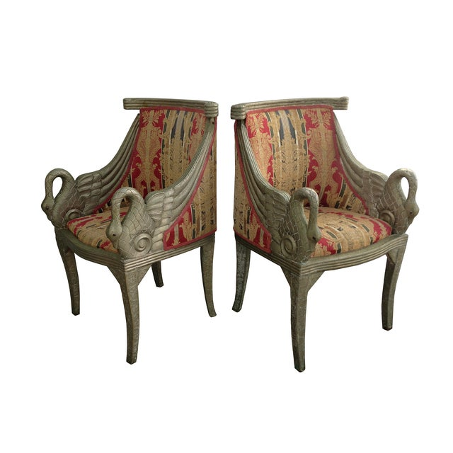 Image of Regency Metal Frame Swan Chairs - Pair