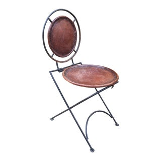 French Modernist Folding Iron & Leather Chair