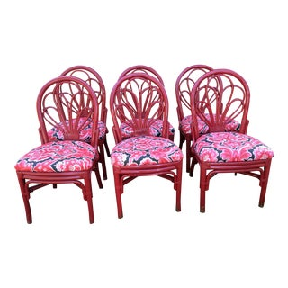 Vintage Red Bamboo Dining Chairs - Set of 6
