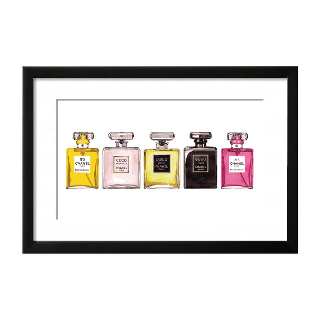 Coco Chanel & Chanel No 5 Perfume Set Framed Print - Image 1 of 2