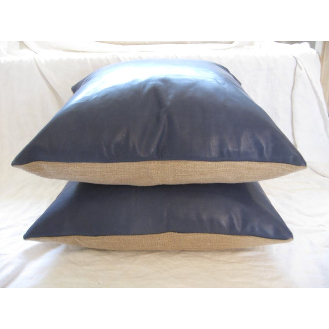 Atlantic Blue Leather Pillows - A Pair - Image 5 of 7