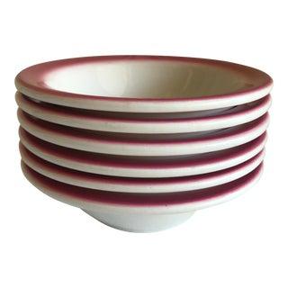 Vintage Pink & White Diner Bowls - Set of 6