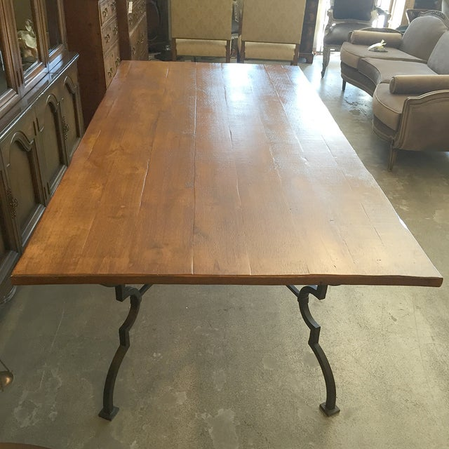 Plank Trestle Table With Iron Base - Image 9 of 10
