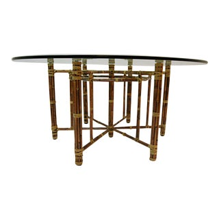 Restored McGuire Reeded Bamboo Hexagonal Dining Table