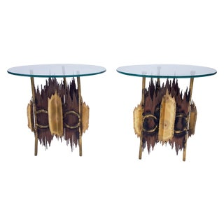 Bijan J. Bijan Brutalist Lamp Tables