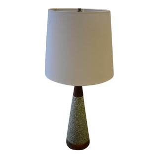 Green & White Glazed Teak Table Lamp