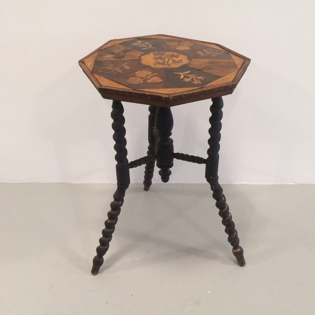 Wooden Inlay Side Table - Image 2 of 6