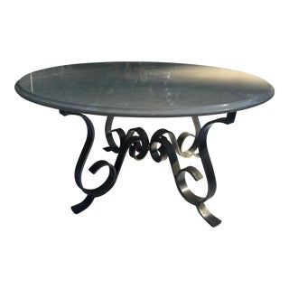 Hammered Metal Marble Top Table