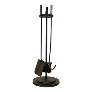 Modernist Freestanding Iron Fireplace Tools, Set of 4